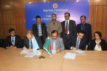 "Representatives of Local Government Division, European Union and UNDP sign the Project Document for ""Activating Village Courts in Bangladesh Phase II' on 30 December 2015. During 2017, the project follows this document in undertaking all relevant interventions to contribute in improving access to local justice for disadvantaged and marginalized groups in Bangladesh"