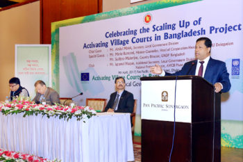 Mr. Abdul Malek, Secretary, LGD addresses to the guests at the project's scaling up celebration event in Dhaka