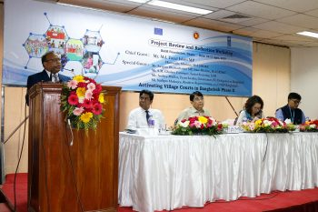 Honorable minister, Mr. MD. Tazul Islam MP, Ministry of Local Government, Rural Development and Cooperatives addressing in the Project Review and Reflection Workshop in Dhaka on 10 April 2019