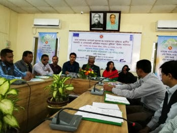 For developing massive awareness on village courts local representatives of various government institutions and non-government organizations share their suggestions during an outreach workshop. A total of, 200 outreach workshops were organized in the project working areas