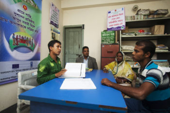A VCA counsels community people at union level regarding cheap, easy and effective dispute resolution services of village courts